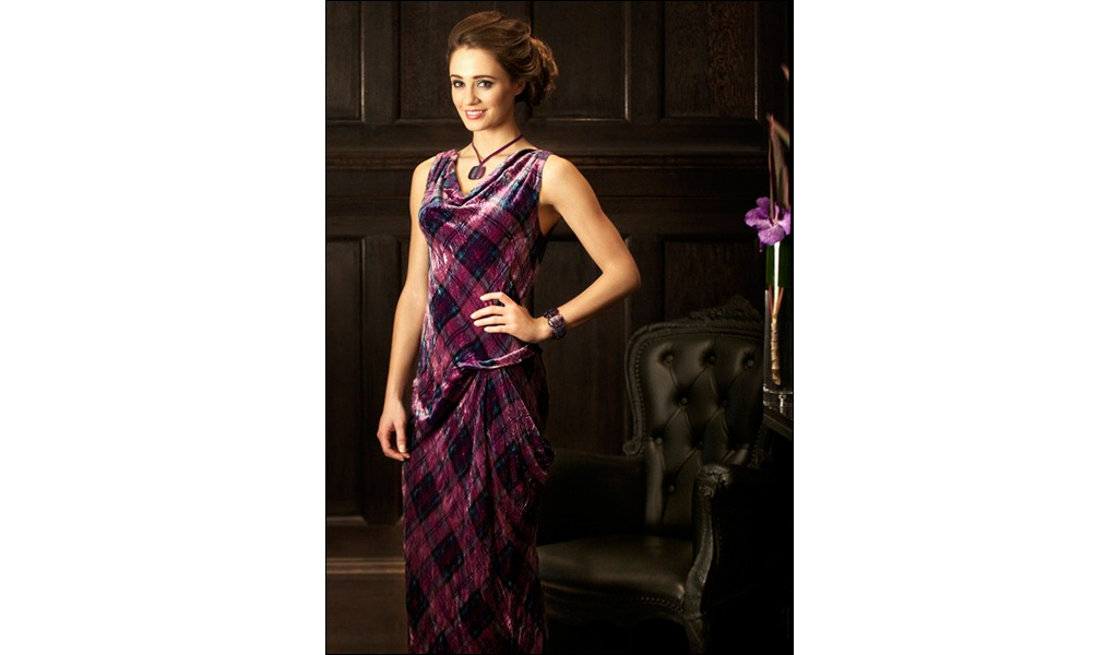 Tartan Spirit Crushed Silk Velvet Evening Dress