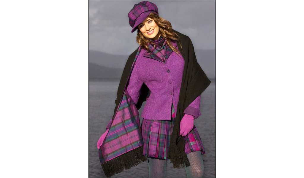 Harris Tweed Jacket & Kiltie Skirt with Silk Cashmere Wrap