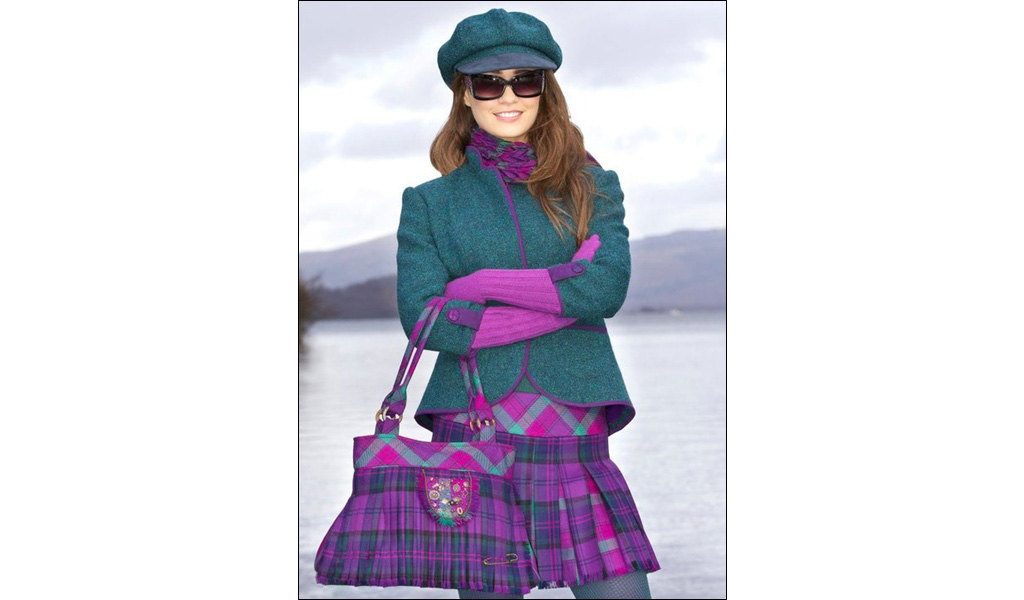 Harris Tweed Jacket, Kiltie Skirt & Bag