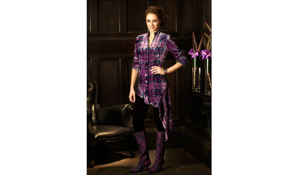 Tartan Spirit Crushed Silk Velvet Shirt